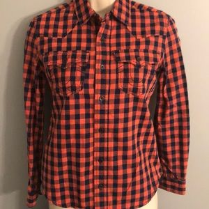 True Religion Buffalo Plaid Western Flannel Shirt